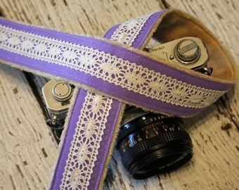 Lavender Camera Strap. Cute Camera Strap. dSLR Camera Strap. Linen and Lace Camera Strap. Padded Camera Strap. Digital Camera Strap