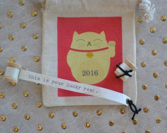 Lucky Year 2016 Tiny Message Spool and Gift Bag