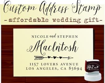 Calligraphy Handwriting Script Custom Return Address Stamp - Personalized Self Inking Wedding Stationery Stamper - Style 117