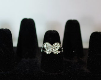 Silver & Crystal Jewelry - Ring - Size 8 - Butterfly with Czech Crystals