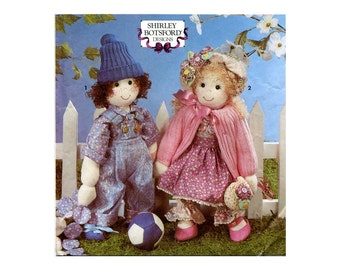 """Sock Dolls Pattern Boy and Girl Soft 18"""" Toddler Dolls with Clothes and Yo Yo Quilt Simplicity 7476 Vintage Sewing Pattern"""