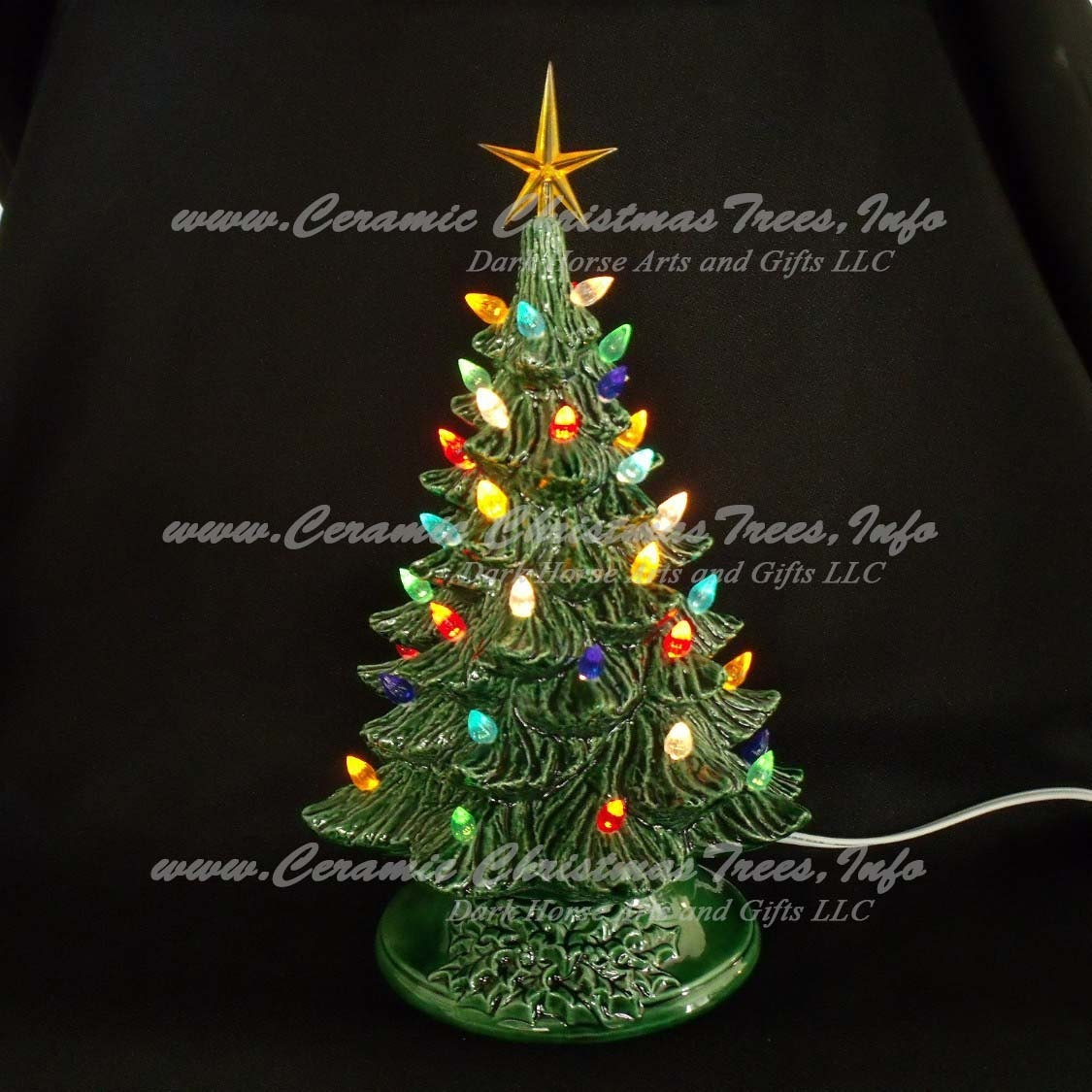 Vintage Style Ceramic Christmas Tree w/ Music Box 11 In
