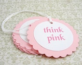 Think Pink baby shower tags - baby tags - baby girl - Set of 12
