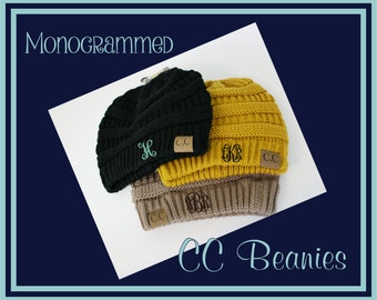 Monogrammed CC Beanies - Monogram Beanie | Gift for Her | Gift for Teen | College | Personalized CC Beanie | CC Beanie Hat | Winter Cap