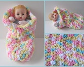 Huggums Sleeping Bag, Pastels Doll Cocoon, Baby Doll Blanket, Doll Bunting, Snuggle, Crochet Doll Clothes, Fits Huggums and 12 inch Dolls