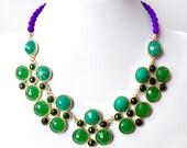 Jade Green Statement Bib Necklace - Green, Violet Purple, Eggplant, Plum Bib Necklace - Gold Beaded Statement Necklace - Czech Glass