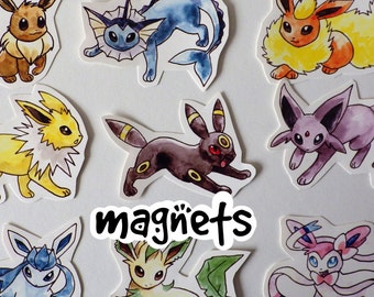 Pokémon - Eeveelution Decorative Magnet set - Eevee, Vaporeon, Flareon, Jolteon, Umbreon, Espeon, Glaceon, Leafeon, Sylveon