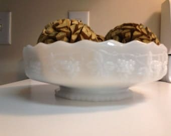 Fire King Pedestal Comport Compote Fruit Bowl Grapes Milk Glass