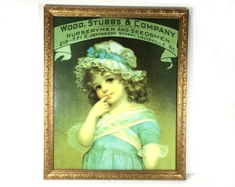 """Vintage Advertising Reproduction, """"Wood, Stubbs & Company"""", Little Girl with Blue Dress and Lacy Bonnet, Framed w/ Glass and Gold Wood Frame"""
