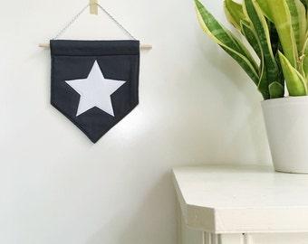 Star Felt Banner *WHITE*, felt banner, wall banner, pennant, wall decor, wall hanging, nursery decor, star decor