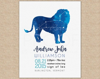 Leo Constellation, Baby Birth Stats, Unique Baby Gift, Birth Announcement, Baby Stats Wall Art, Baby Boy Nursery, Leo // N-XC11-1PS AA6 06P