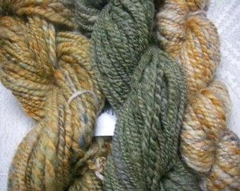 Destash Mini Skeins of Handspun Wool in Green/Gold/Grey by KnoxFarmFiber for Knit Crochet Felt Embellishment