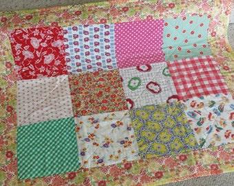 ON SALE Feedsack vintage quilt blanket retro nursery decor farmhouse cottage chic orange red yellow