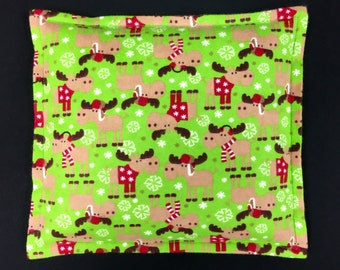 Flannel Corn Heating Pad, Corn Bags, Microwavable Heat Pack, Heated Bag, Gift for Kids, Cabin Bed Warmer - Moose- 2 sizes