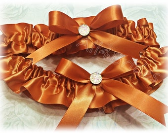 Burnt orange weddings bridal garter set.  Keepsake and Toss burnt orange garters.