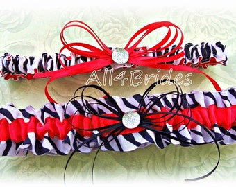 Red and zebra print wedding bridal garter set.  Animal print keepsake and toss leg garters