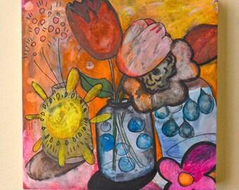 OOAK Sunshine in a Jar Painting on Claybord