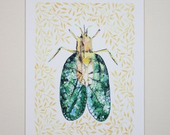 Beetle Art Print • Watercolor Illustration • Wall Art • Home Decor