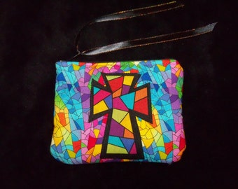 Stained Glass Fabric Cross Coin Change Purse Take me to Church