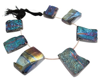 Druzy Beads, Drusy, Titanium Druzy Beads Briolettes, Titanium Drusy, Druzy Quartz Beads, Rectangle Briolettes, SKU 4475A