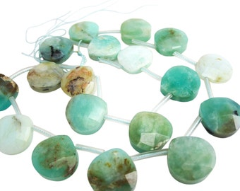 Peruvian Blue Opal Beads Briolettes, Faceted Briolettes, 16mm, Wholesale Peruvian Opal, Wholesale Blue Opal, SKU 3923A