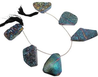 Druzy Beads, Drusy, Titanium Druzy Beads Briolettes, Titanium Drusy, Druzy Quartz Beads,SKU 4504A