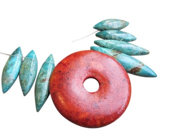 Sponge Coral Pendant, Sponge Coral Beads, Donut Shaped Pendant, 49mm, SKU 4027