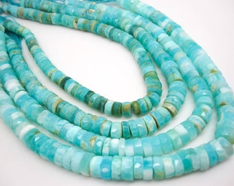 Blue Peruvian Opal Beads, Faceted Heishi, Wholesale Opal, Blue Opal Heishi, SKU 4813