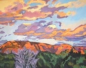 Southwestern Painting Western Sky Sunset In Sedona Fine Art Print  8x10, orange pink purple Arizona Painting by Gwen Meyerson