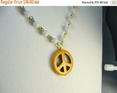 Peace sign necklace ... yellow stone peace sign pendant on vintage white plastic beaded chain ... peace for you, peace for me