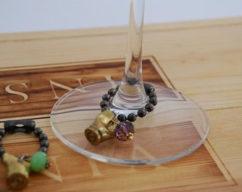 Beaded Bullet Casing-Wine Charms-Recycled ammo wine glass markers