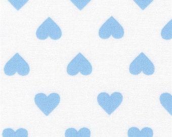 211389 white Robert Kaufman light blue heart fabric Sevenberry Classiques