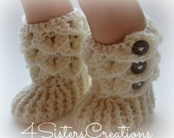 """American Girl Crocodile Stitch Soft White Booties with Buttons -  18"""" Doll Crochet Boots - Made and Ready to go"""