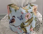 Birds and Blooms and Gold Glitter Dots Tissue Box Cover