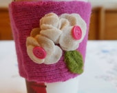 Coffee Cozy - Bright pink white flowers