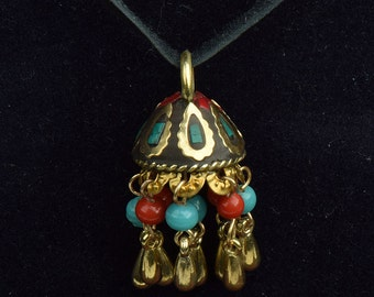 Tassel cap , bead cap, decorated brass and stone inlay, sold by 2 each , 15321G