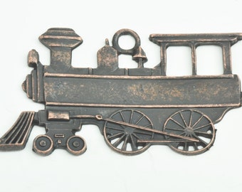 Steam Engine Railroad Stamping, Copper antique finish set of 3  15836CO