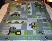 Baby John Deere Tractors Patchwork Cotton Quilt Fabric Panel-NEW, But Out Of Print Long Ago
