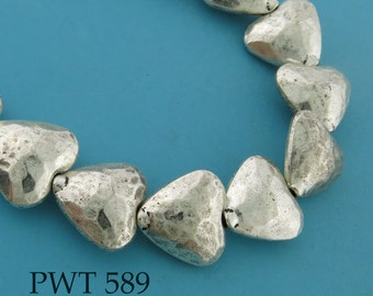 14mm Pewter Hammered Heart Beads (PWT 589) 6 pcs BlueEchoBeads