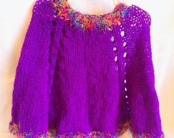 Little Girl Poncho. Violet. Mauve. Lavender. Purple. Red-Violet. African Violet. Grape. Eyelash Yarn. Knit Poncho. Knit Cape. Girls Poncho.