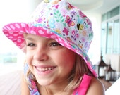 Girl's bucket sun hat with flowers and bees, cute sun protection hat with brim