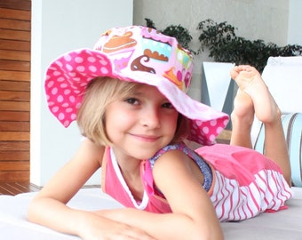 Children's sun hat, wide brim uv protection, pink hat, cute sun hat