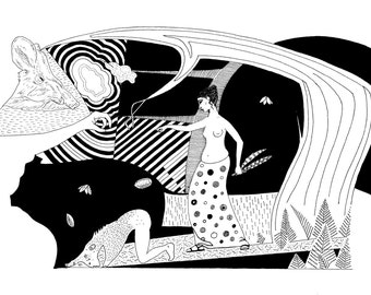 Original drawing, Greek myth,  Circe feeding her pigs, 11.7 x 16.5 ins, 29.7 x 42cm