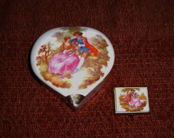 Antique French Trinket Box Pill Case Porcelain
