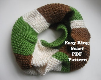 Tri-Color easy garter stitch ring scarf, cowl PDF pattern - stash buster project, worsted weight yarn, knitting pattern for scarf, cowl,