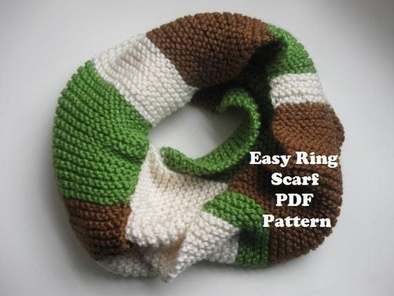 Tri-Color easy garter stitch ring scarf, cowl PDF pattern ...