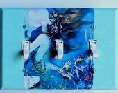 4 CHOICES of Mermaid switchplates w/ MATCHING Screws- Mermaid wall decor mermaid bathroom wall decoration vintage mermaids triple plate (C)