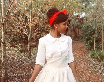 Tannie, Ivory Vintage Inspired Dress, Peter Pan Collar, 3/4 sleeves, custom made