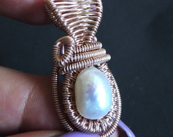 Large fresh water pearl hand made wire wrapped pendant in rose gold artistic wire / A23