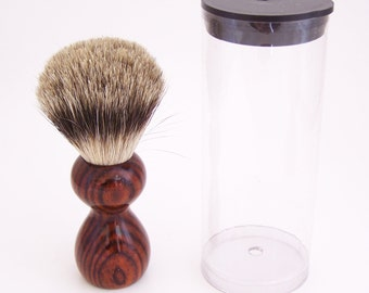 Cocobolo Wood 16mm Silvertip Badger Travel Brush  (Handmade in USA)C1 - Gift for Him - Executive Gift - 5th Anniversary - Wood Shaving Brush